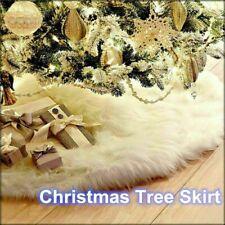 Long Snow Plush Christmas Tree Skirt Base Floor Mat Cover Xmas Party Decor UK