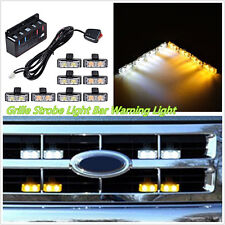 8XDC12V 2LED Amber&White Car 4WD Front Grille Strobe Flashing Light Beacon Bulbs