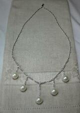 2CT Diamond Pearl 14K Necklace Wedding Jewelry 12mm Pearl 112 Diamonds Estate