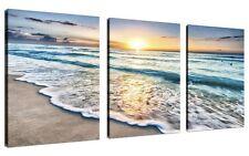 QICAI 3 Panel Canvas Wall Art for Home Decor Blue Sea Sunset White Beach The On
