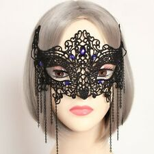 Black GOTHIC Good Quality Lace  Blue Gem Lady MASQUERADE CARNIVAL PARTY EYE MASK