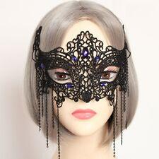 Black GOTHIC Good Quality Lace  Blue Gem Lady MASQUERADE CARNIVAL PARTY EYE MASK