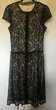 Lapis Womens Dress Black Lace Ivory Lined Button Down XL