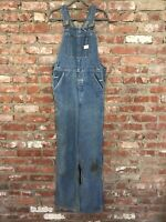 Vintage BIG MAC Blue Denim Carpenter Bib Overalls Square Back 30 X 32 Destroyed