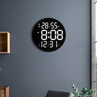 12 Inches LED Wall Clock Large Digital Clock with Temperature Humidity Calendar