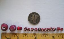 15  Venetian Glass RED White Heart BEADS * African Trade*  Variety