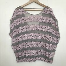 Free People Women's Sz Large Pink County Fair Banded Bottom Lace Oversized Top