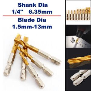 """1Pcs HSS Drill Bit Twist Drill 1.5mm- 13mm 1/4""""φ For Stainless Steel Hard Steels"""
