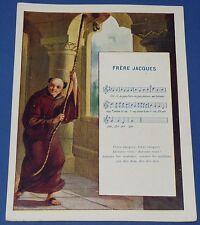 Rare chromo 1900 14 x 18 rhyme song frere jacques pub the coterie ecole