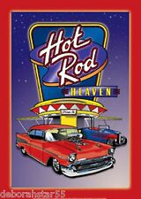 HOT ROD HEAVEN Tin Sign Hot Rod Sign Garage Signs Retro 50s Metal Sign Large