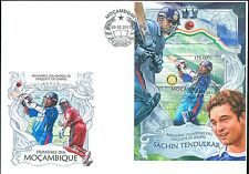 MOZAMBIQUE 2013 CRICKET CHAMPIONS OF ALL TIME  SOUVENIR SHEET FDC