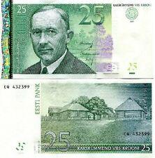 ESTONIA 25 KROONI 2007  AUNC / UNC BANKNOTE p.87b