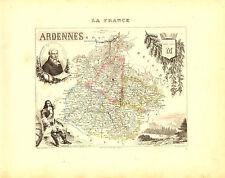 Carte du Département des ARDENNES, vers 1880, Migeon.