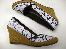 Ladies GAP brown white sandals SHOES size UK 5.5 wedges mules espadrilles