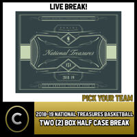 2018-19 PANINI NATIONAL TREASURES 2 BOX (HALF CASE) BREAK #B211 - PICK YOUR TEAM