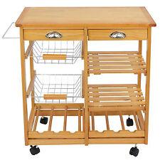 Rolling Wood Kitchen Trolley Cart Island Dining Storage Wine Rack Drawers