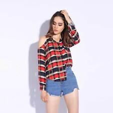 Women Off Shoulder Sexy Blouse Cotton Plaid Long Sleeve Button Down Shirt Size L
