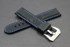 24MM Black Blue Rubber Strap band Steel Buckle Replacement Panerai Luminor Pam