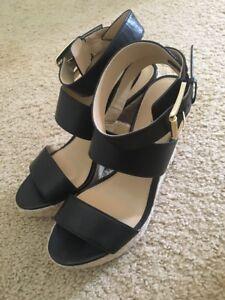 NWT - $150 Michael Kors Posey Ankle Strap Wedge Sandals Platform Black Size 8.5