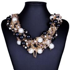 14k Gold GP Black & White Pearl Necklace made w Swarovski Crystal Stone Gorgeous