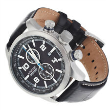 Nautica NCT 400 Men's Chronograph Black Dial Black Leather Strap A18547G BNIB