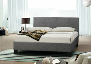 4FT6 Double Grey Fabric Bed With Memory Foam Mattress Included
