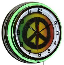 "19"" Rasta Peace Love Music Sign Green Double Neon Clock Game Room Wall Decor"