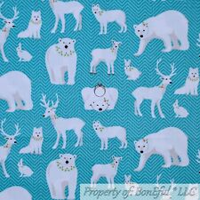BonEful FABRIC Cotton Quilt Blue White Xmas Stripe Polar Bear Deer Buck NR SCRAP