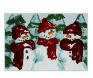 "St Nicholas Square Farmhouse Christmas Snowman Bathroom 20"" X 30"" Bath Rug"
