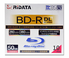10 Ridata BD-R DL 50GB Inkjet Printable Blu-Ray Video Ridata Media Ritek Bluray