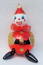 "7"" Signed Le1508 Italy Figural Clown Mercury Glass Mica Xmas Tree Ornament #962"