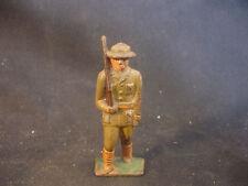 Old Vtg Cast Iron Toy Military Soldier Rifle W/Helmet Train Garden Figure