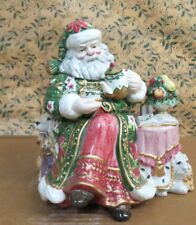 Fitz and Floyd Santa Drinking Tea Surrounded by Favorite Pets Cookie Jar 1995