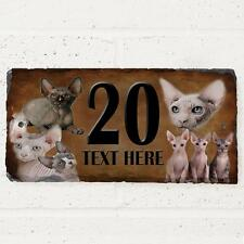 Personalised Sphynx Cat Door House Slate Sign Name Number Plaque