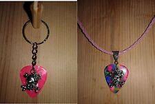 Keychain/Necklace Combo Multi & Pink Picks /Heart & Skull Charm/Light Pink Cord