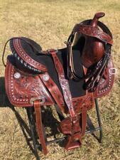 """Western Treeless Horse Saddle - Black Seat - 14"""", 15"""", 16"""""""