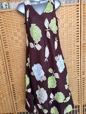 Laura Ashley Linen Dress Sz 12 Bust 38 Floral Long Fit & Flare Wedding Occasion