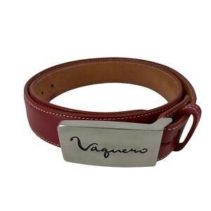 "R.J. Bettinardi Belt Men's Size 40 Red Leather Sculpted Metal ""Vaquero"" Buckle"