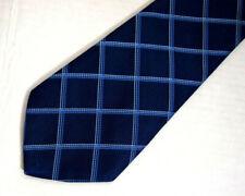 """Thomas Pink Mens Necktie Tie Navy Blue Checkered Silk Wide 59"""""""