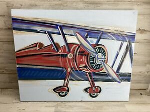"""Renditions by Reesa RED BIPLANE Canvas Art 16""""X20"""" Ready To Hang.  $139!"""