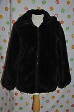 Black MONTEREY  FAUX  FUR women's 12 short LUXURIOUS COAT  CHIC