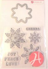 "5 Clear Stamp & 1 Die Cut Snowflake Christmas Snowman Ornament Card 2""x2"" Winter"