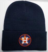 READ LISTING! Houston Astros HEAT Applied Flat Logo on Beanie Knit Cap hat!!