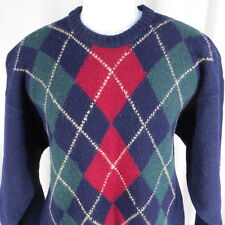 Vintage L Peterborough Shetland Wool Argyle Sweater Crewneck Made in Ireland