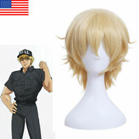Cells at Work Killer T Cell Cosplay Hair Men Blonde Short Straight Wig Halloween