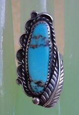 Huge Navajo Blue Matrix Turquoise Sterling Silver Leaf Ring 7.5 Southwestern