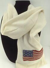Women's RALPH LAUREN White American Flag Long Winter Scarf - $58 MSRP - 10%