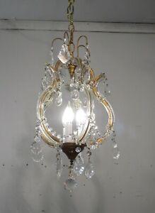 Antique Vintage Maria Theresa Chandelier 3  Light Crystals Pendant Petite Cage