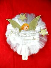 Vintage~Spun Glass~Angel~Tree Topper~Gold Foil Wings~Gold Stars~1940's