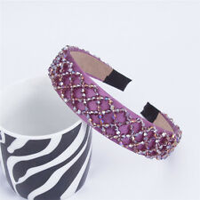 Purple Womens Girls Crystal Hair Band Headbands Wide Plastic Hair Accessories